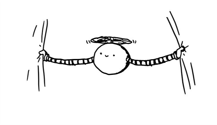 A spherical robot held aloft by a propeller on its top, with long, extendable arms, each holding the edge of a curtain.