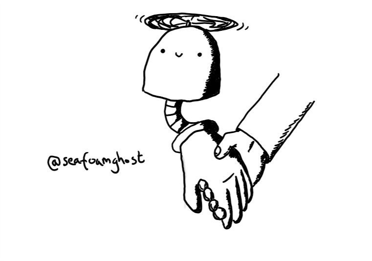 A dome-shaped robot held aloft by a propeller on its top, with one arm hanging from its underside that ends with a large hand. The hand is holding someone else's and the robot is smiling happily.