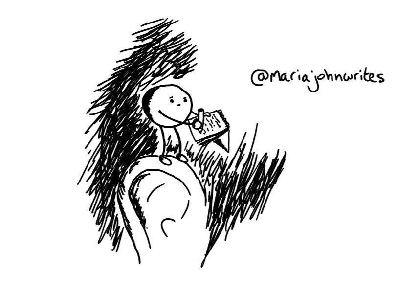 A spherical robot with slim arms and legs, perched atop someone's ear and writing in a little notebook as it frowns slightly at their head.