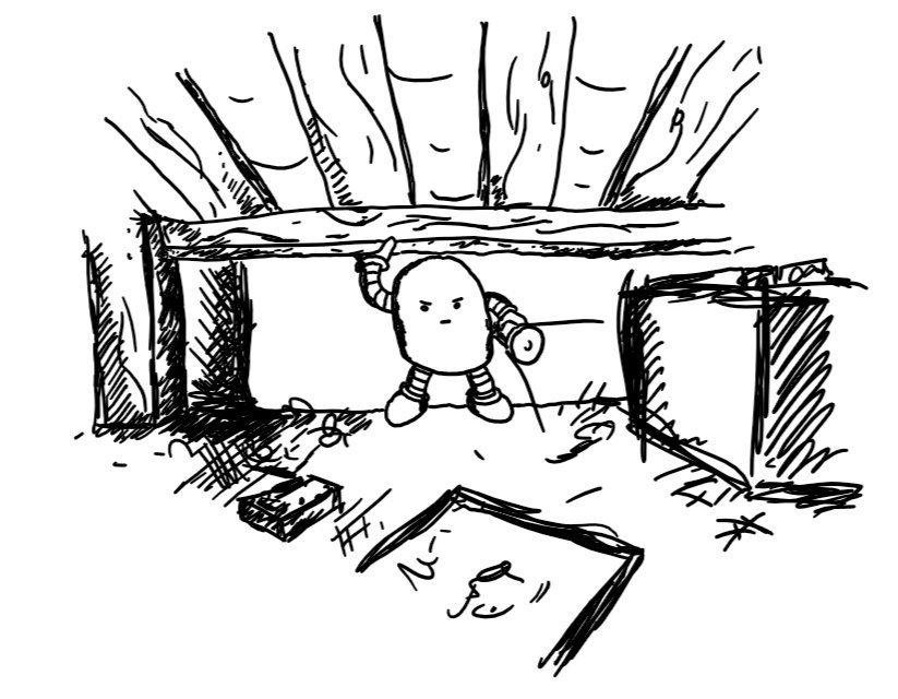 A rounded robot with a determined expression shining a torch under a bed and showing lots of dusty boxes, books, discarded toys etc.