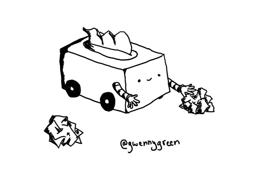 A robot in the form of a box of tissues with the dispenser on its top. It has four little wheels on the bottom and two banded arms, one of which is reaching for a scrunched-up tissue on the floor.