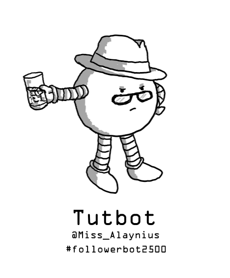A spherical robot wearing a trilby and a pair of glasses, and holding a glass of gin and tonic. It's staring disapprovingly over its glasses and has one hand on its hip.