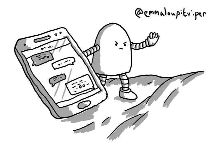 A rounded robot standing atop some bedsheets, propping up a phone with one hand while holding out its other hand and making an angry face to prevent touching.