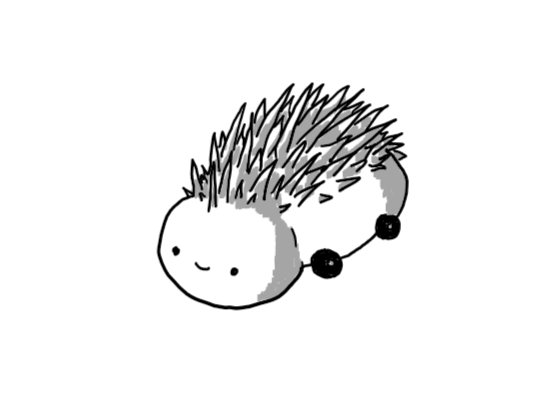 A robot made up of a spherical head connected directly to an avoid body, lying horizontally. It has four little wheels on the body and a smiley face on the front of its head. On its back, running from the top of its head and covering most of the top part of its body is a coating of spines.