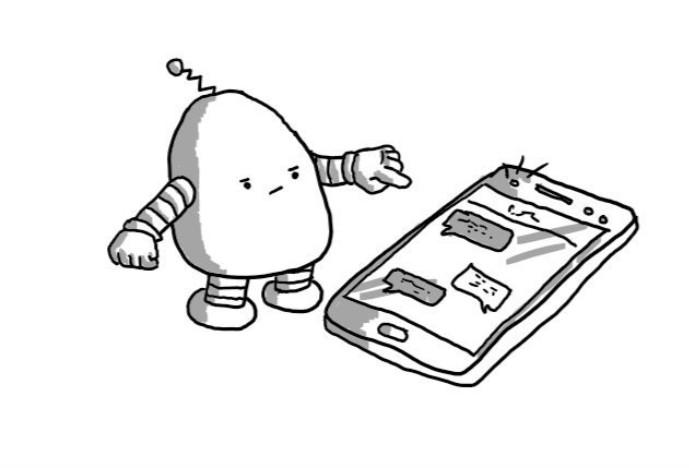 A rounded robot with banded arms and legs and a little antenna frowning and pointing at a mobile phone with a screen full of messages and a flashing alert on the top.