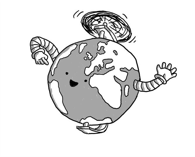 A robot in the form of a globe, with two arms - one emerging from the Indian Ocean and the other from somewhere in western Canada - with a happy face in the middle of the Atlantic. It's mounted on a semi-circular bracket so it can spin like a globe and has a propeller on top.