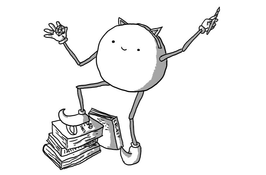 A spherical robot with jointed arms and legs, holding a miniature paintbrush in one hand and a 20-sided dice in the other. It's wearing a headband with little anime cat ears and boots with curved toes. One foot is propped on a stack of sci-fi and fantasy books.