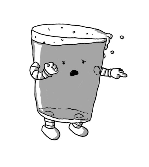 A robot in the form of a pint of beer with arms and legs. It's walking a little unsteadily, spilling foam from its top, and is pointing with one hand while the other is clenched. Its eyes are a little wonky and its mouth is open and slightly contorted as if its feeling sick.