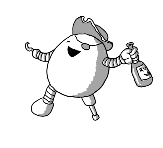 An ovoid robot with one wooden leg, a hook for one hand and a bottle of rum in the other, wearing an eye-patch and a tricorn hat, leaning back and laughing uproariously with its good eye closed.