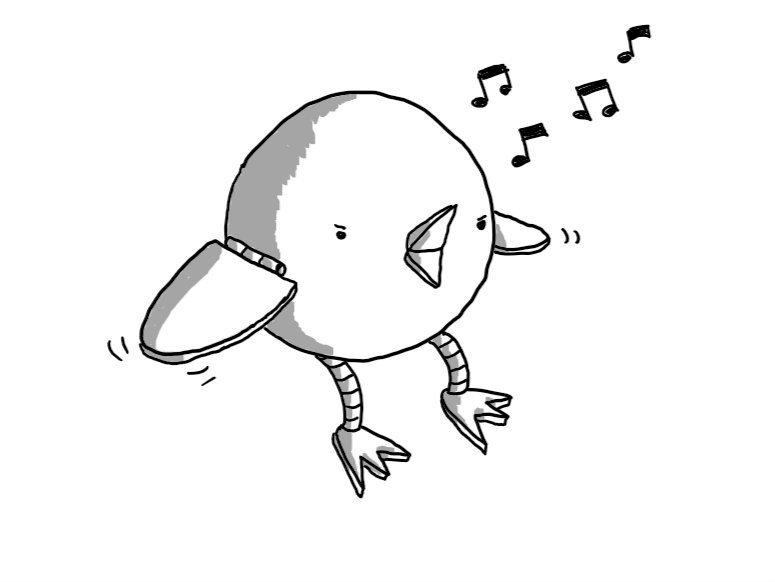 A perfectly spherical robot with a little beak that's open and singing, two flappy wings connected by hinges and flexible banded legs with three-toed feet. The robot looks angry for some reason.