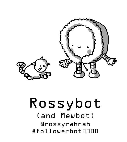A little robot in a fluffy parka hood with rosy cheeks, smiling down at a smaller Cattobot.