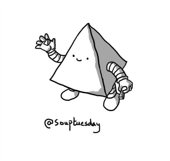 A robot shaped like a four-sided pyramid (i.e. a D4, or 4-sided dice), cheerfully holding up an actual D4 in one hand and gripping a Lego brick in the other.