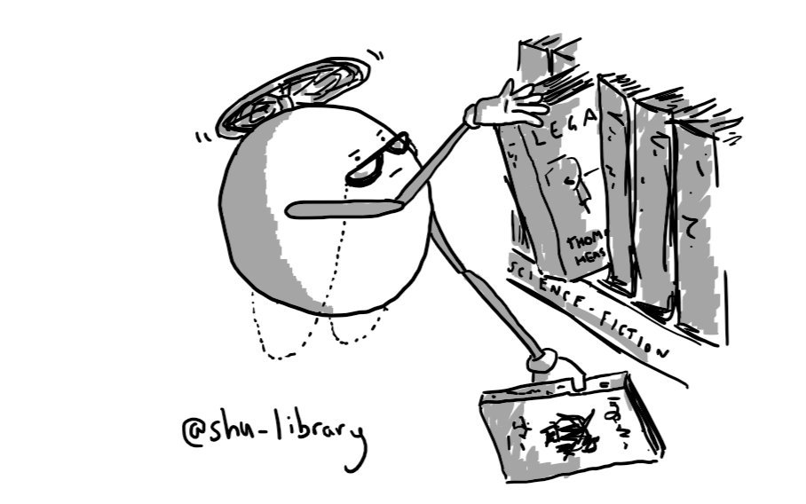 A spherical robot held aloft by a propeller on its top, peering over a pair of glasses held on by a chain as it retrieves books from a shelf with its long, jointed arms.