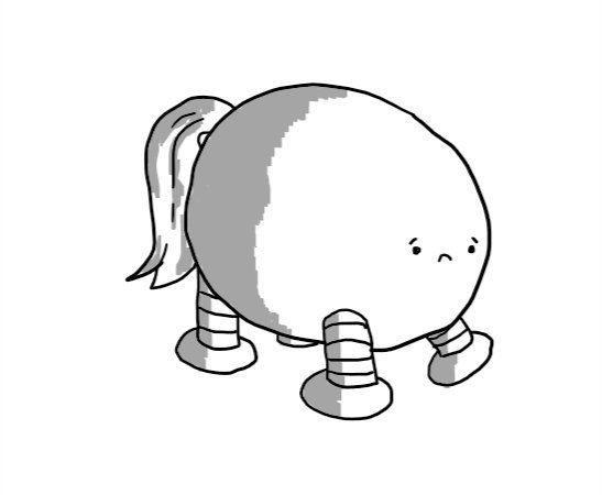 An ovoid robot with four legs and an equine tail. It has a sad expression on its little face.