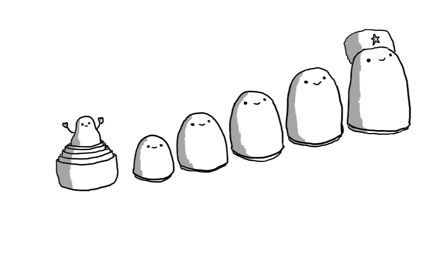 A series of six robots in the form of Russian nesting dolls, with the largest 'top half' on the right wearing a furry Russian hat and smiling. The rest of the top halves are laid out in descending order of size until, on the far left, the stacked bottom halves have a tiny robot in the middle waving its arms in the air.