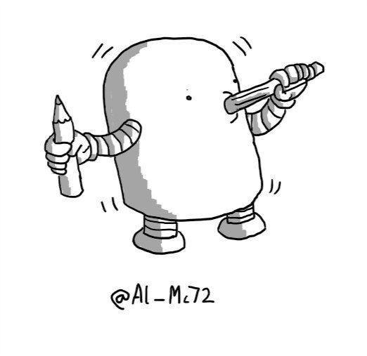 A squat, cylindrical robot with a rounded top holding a pencil in one hand while it seemingly chews on another. Its whole body is vibrating.