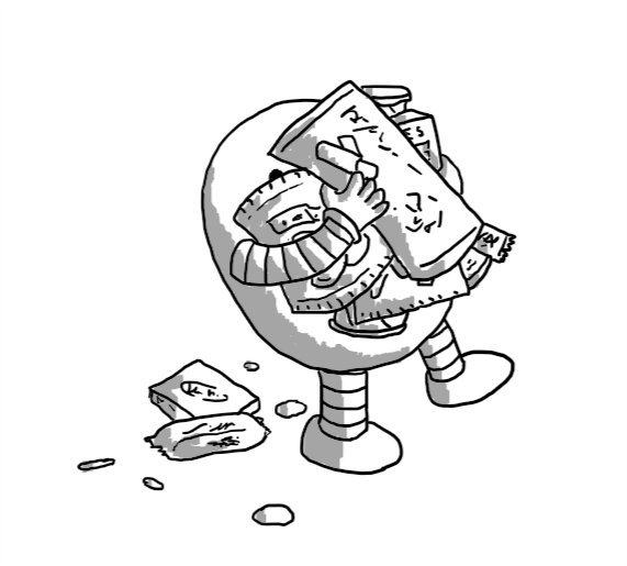 A tottering round robot overburdened with packaged snacks, some of which have fallen to the ground behind it.