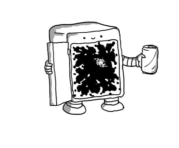 A little fridge with short legs and arms and a face above the door. It's opening itself with one hand, revealing a yawning abyss surrounded by crackling energy, with a galaxy faintly visible in the distance. The other hand is offering a can.