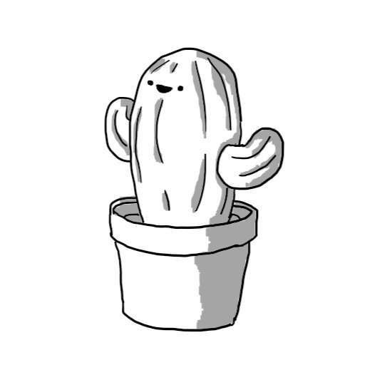 A little robot in the form of a potted cactus with a little happy face near the top.