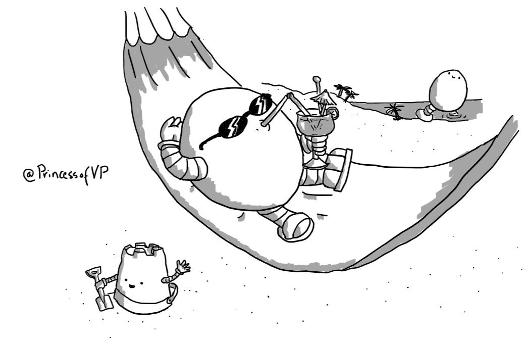 A round robot lying on a hammock on a beach. It's wearing sunglasses and flip-flops and drinking an elaborate cocktail through a long straw. Sandcastlebot is on the ground next to it, playing in the sand with a spade, while in the distance Bigbot wades ashore next to a few palm trees.