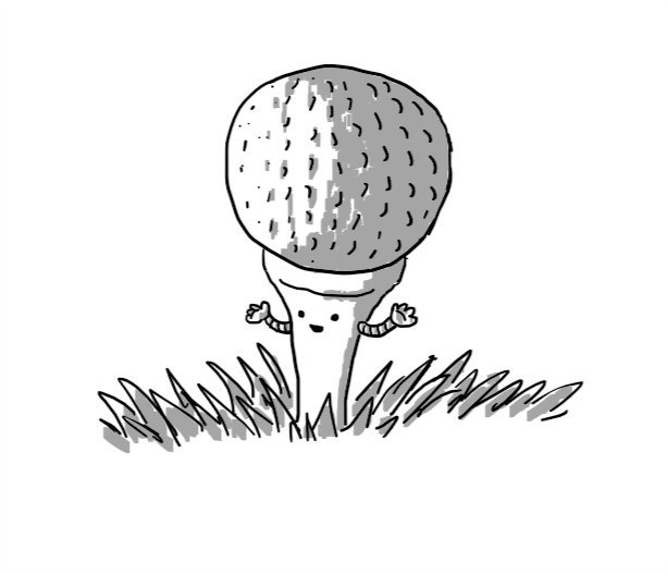 A robot in the form of a golf tee, with a golf ball balanced on top of it and two little arms.
