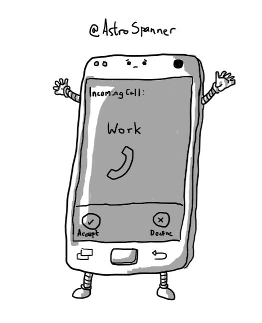 A smartphone with little arms and legs and a worried face above the screen, which shows an incoming call from 'Work'.