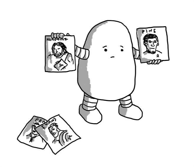 A potato-shaped robot holding up a picture of Thor labelled 'HEMSWORTH' in one hand and Captain Kirk labelled 'PINE' in the other. On the floor are two more pictures, one showing Captain America and labelled 'EVANS' and the other, partially obscured, but showing someone in a shirt and tie and part of the word 'PRATT'.