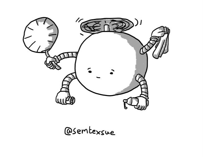 A spherical robot held aloft by a propeller on its top and with four arms: one holds a hand fan, another has a tissue, another a container of pills and the last a little bottle of lubricant.It has a sympathetic expression on its face.