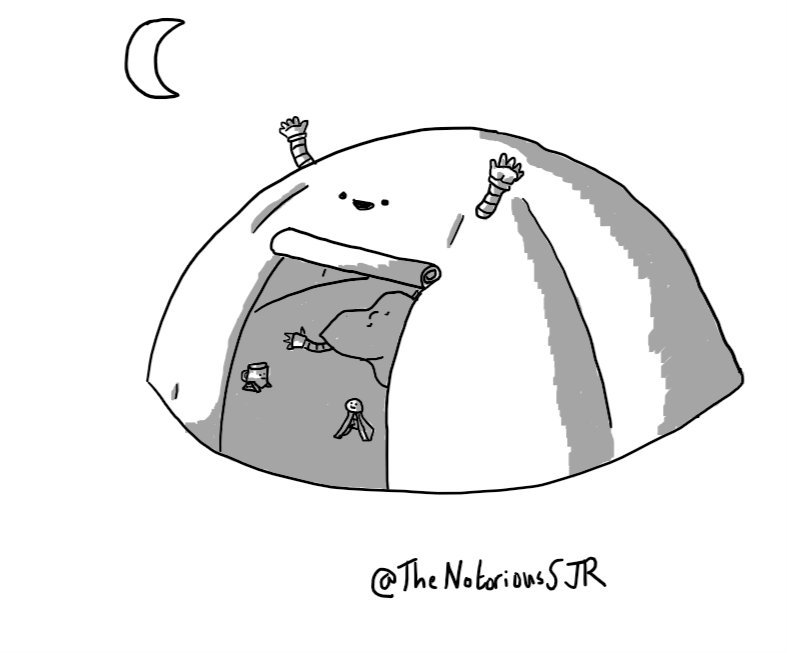 A robot in the form of a dome-shaped tent with a little smiling face above the rolled-up door and small waving arms on either side. Visible through the entrance are Warmbot, Signalbot and Teabot, scattered over the integrated ground sheet. A crescent moon hangs over the scene.