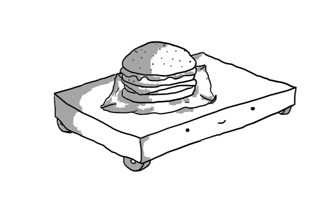 A low, flat, cuboid robot with four wheels at each corner and a burger on its top.