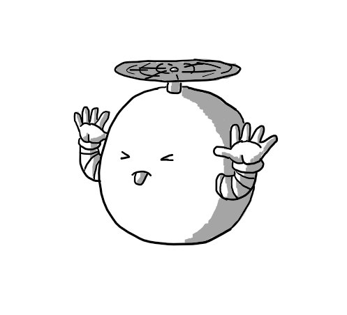 A spherical robot held aloft by a propeller on its top, sticking out its tongue and screwing its eyes shut while it holds its hands up to its ears and waggles its fingers.