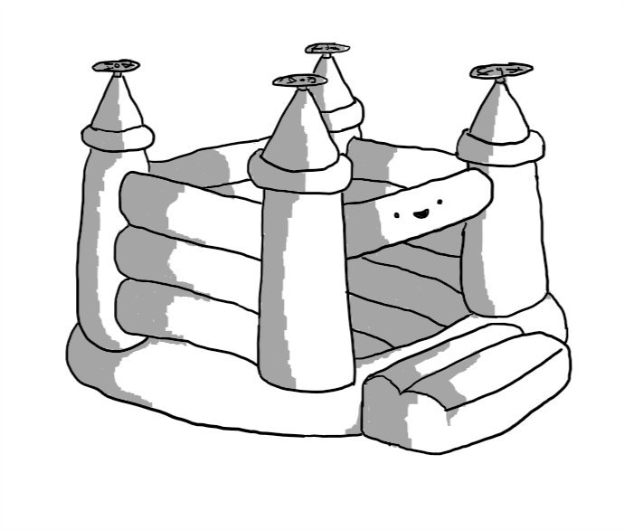 A robot in the form of a bouncy castle, with propellers on each turret and its face on the cross-beam above the entrance.