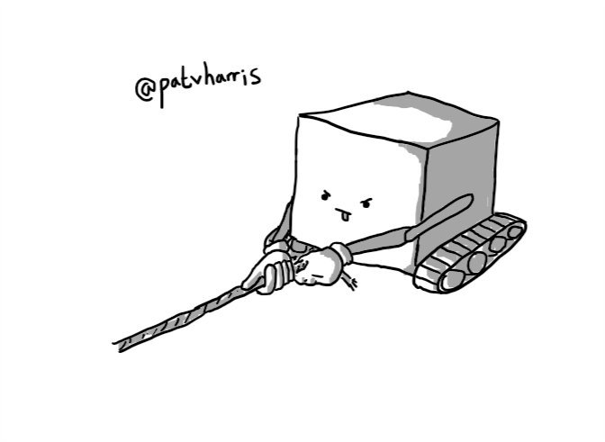 A cube-shaped robot with caterpillar tracks, tugging determinedly on a length of yarn.
