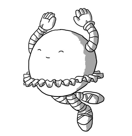 A spherical robot wearing ballet shoes and a tutu, jumping up in the air with its arms raised, eyes closed and a beatific smile on its face.