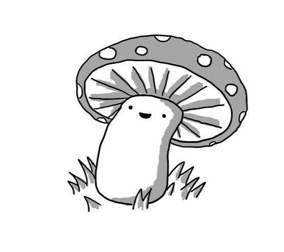 A robot in the form of a cartoon mushroom, with a smiley face on the stalk so the cap looks like a wide hat.