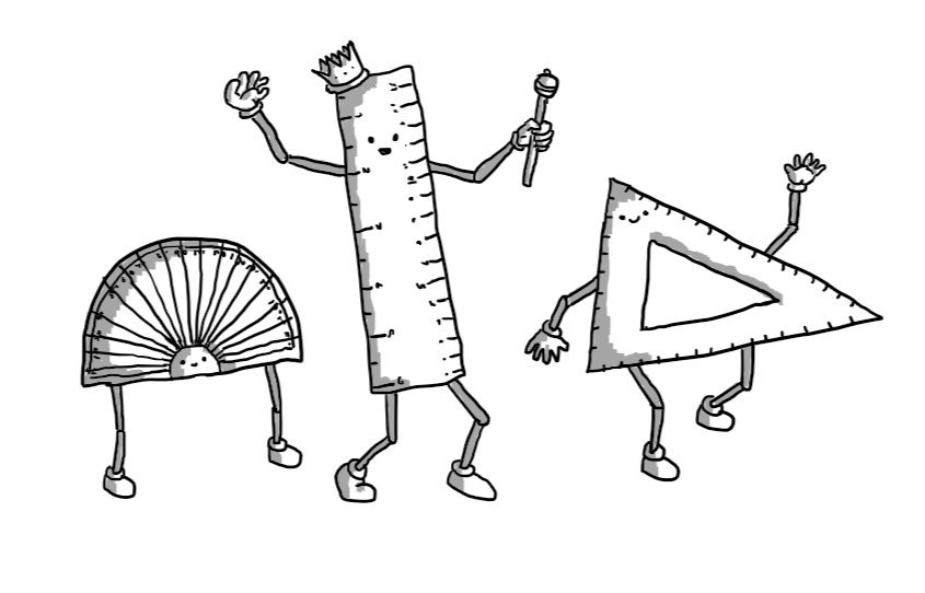Three robots in the form of a protractor, a ruler and a set-square. Protractorbot has two jointed legs on its straight edge and its face in the central semi-circle. Rulerbot and Setsquarebot have jointed arms and legs. Rulerbot is also wearing a crown and carrying a sceptre.