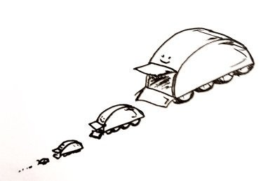A semicircular robot with 8 wheels on the flat side and an open door, in front of which is a slightly smaller semicircular robot with 8 wheels on the flat side and an open door, in front of which is a slightly smaller semicircular robot with 8 wheels on the flat side and an open door, in front of which...