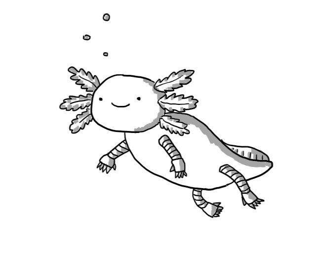 A smiling robot in the form of an axolotl.