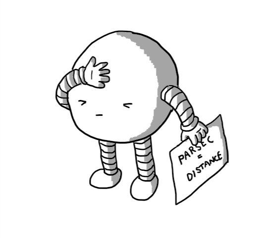 "A spherical robot with its eyes shut in frustration as it presses a hand against its forehead. In its other hand it holds a sign reading ""PARSEC = DISTANCE""."