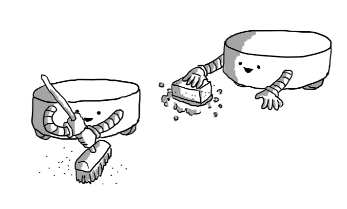 Two squat, cylindrical robots with little wheels on the bottom. One is wielding a broom and the other a soapy sponge, both quite cheerfully.