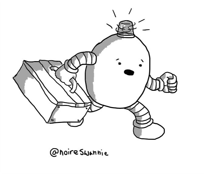 An ovoid robot with a big toolbox in one hand and a spinning, flashing emergency light on its top. It's running to the rescue with an alarmed expression on its face.