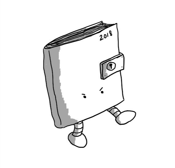 A robot in the form of a book with '2018' in the top right of the front cover. Halfway down is a clasp with a keyhole that wraps around the outer edge to keep it locked shut. The robot has two little legs at the bottom, one of which is stretched out as if aiming a kick and it has a pair of very angry-looking eyes (but no mouth).