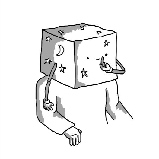 A robot in the form of a cubic box that entirely covers someone's head. The robot/box is decorated with moon and star motifs and has two jointed arms on either side. One finger is raised to its smiling mouth on the front, shushing.