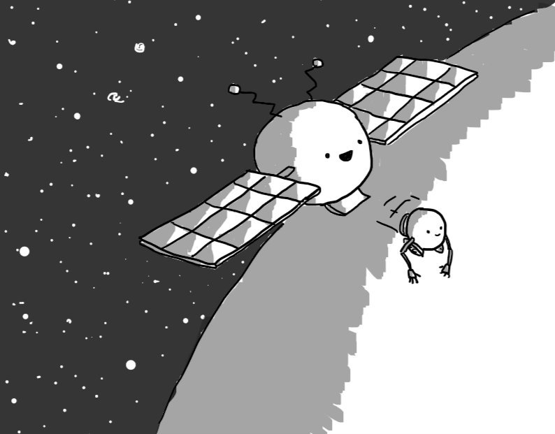 A spherical robot with big solar-panel wings like a satellite, in orbit above a planet with a dark starfield behind. A hatch on its bottom is open to release a second, smaller robot with tracks and long, jointed arms.