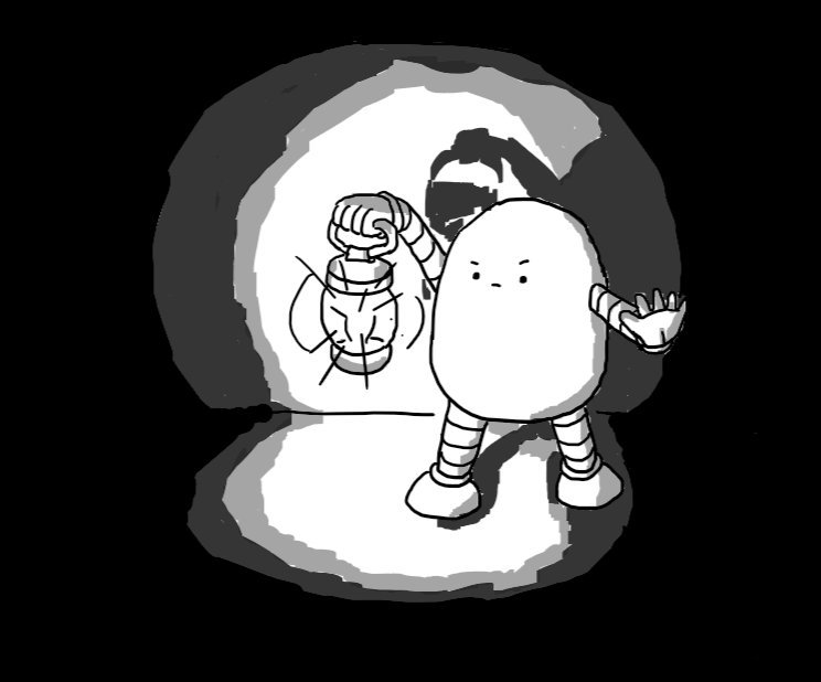 A rounded robot standing near a wall, surrounded by absolute darkness. It holds aloft a lantern which casts light around it and its other hand is held out defiantly.