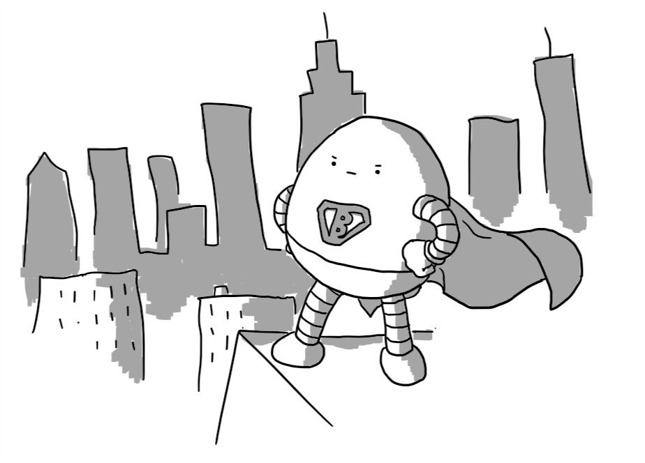 An ovoid robot standing on a building's roof looking out over a city skyline with its fists planted on its hips. It wears a billowing cape and superhero-style trunks and on its chest is a Superman-like badge with a 'B' instead of an 'S'. It has a very determined facial expression.