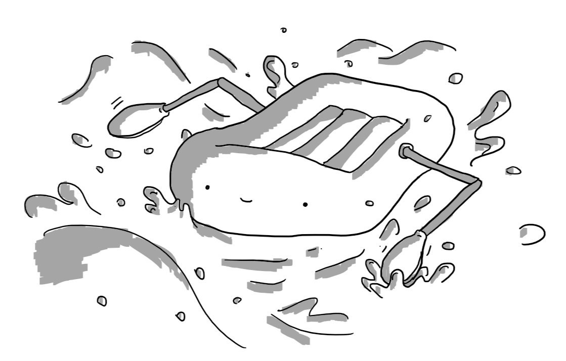 A robot in the form of an inflatable dinghy, with a happy face on the front and two jointed arms that end with oars that it's using to paddle through turbulent water.