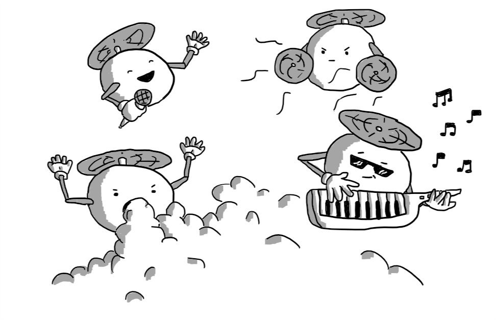 Four spherical robots held aloft by propellers on their tops. One has a microphone it is cheerfully speaking into, one has fans in place of hands, one wears sunglasses and is playing a key-tar, while the fourth is pumping out dry ice from its mouth.