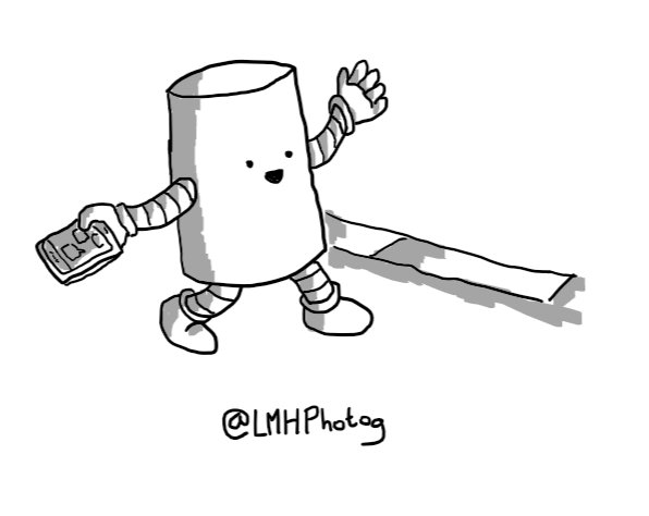 A cheerful cylindrical robot walking down a pavement with a phone in one hand and waving at someone out of frame with the other.