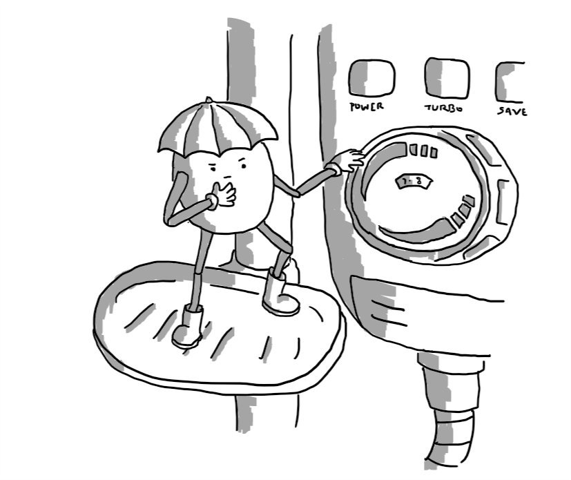 A rounded robot with jointed arms and legs standing on a soapdish mounted on a shower thoughtfully pondering a complicated set of controls. The robot is wearing little wellington boots and has a hat like an umbrella.